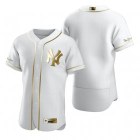 Wholesale Cheap New York Yankees Blank White Nike Men\'s Authentic Golden Edition MLB Jersey