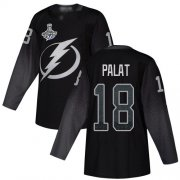 Cheap Adidas Lightning #18 Ondrej Palat Black Alternate Authentic 2020 Stanley Cup Champions Stitched NHL Jersey