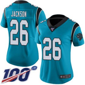 Wholesale Cheap Nike Panthers #26 Donte Jackson Blue Women\'s Stitched NFL Limited Rush 100th Season Jersey