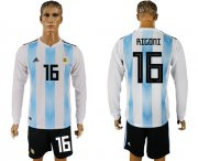 Wholesale Cheap Argentina #16 Rigoni Home Long Sleeves Soccer Country Jersey