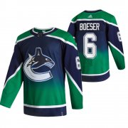Wholesale Cheap Vancouver Canucks #6 Brock Boeser Green Men's Adidas 2020-21 Reverse Retro Alternate NHL Jersey