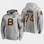Wholesale Cheap Bruins #74 Jake DeBrusk Gray 2018 Winter Classic Fanatics Primary Logo Hoodie