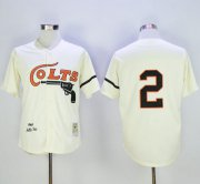 Wholesale Mitchell and Ness Colts #2 Fox Stitched Cream Throwback Baseball Jersey