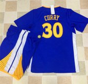 Wholesale Cheap Warriors #30 Stephen Curry Blue Long Sleeve A Set Stitched NBA Jersey