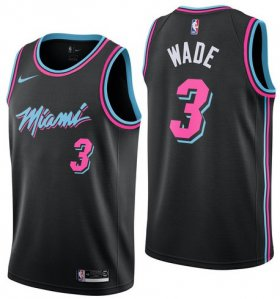 Wholesale Cheap Men\'s Nike Miami Heat #3 Dwyane Wade 2019 City Edition Swingman Black Jersey