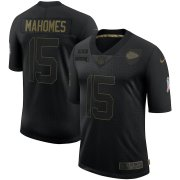 Wholesale Cheap Nike Chiefs 15 Patrick Mahomes Black 2020 Salute To Service Limited Jersey