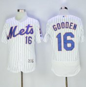 Wholesale Cheap Mets #16 Dwight Gooden White(Blue Strip) Flexbase Authentic Collection Stitched MLB Jersey