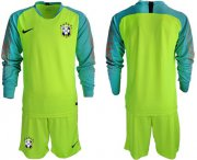 Wholesale Cheap Brazil Blank Shiny Green Goalkeeper Long Sleeves Soccer Country Jersey