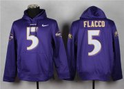 Wholesale Cheap Baltimore Ravens #5 Joe Flacco Purple Pullover Hoodie