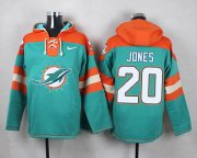 Wholesale Cheap Nike Dolphins #20 Reshad Jones Aqua Green Player Pullover NFL Hoodie