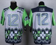 Wholesale Cheap Nike Seahawks #12 Fan Grey Men's Stitched NFL Elite Noble Fashion Jersey