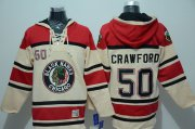Wholesale Cheap Blackhawks #50 Corey Crawford Cream Sawyer Hooded Sweatshirt Stitched NHL Jersey