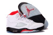 Wholesale Cheap Air Jordan 5 Retro Shoes White/Fire Red-Black