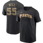 Wholesale Cheap Pittsburgh Pirates #55 Josh Bell Nike Name & Number T-Shirt Black