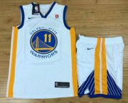 Wholesale Cheap Men's Golden State Warriors #11 Klay Thompson White 2017-2018 Nike Swingman Rakuten Stitched NBA Jersey With Shorts
