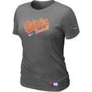 Wholesale Cheap Women's Baltimore Orioles Nike Short Sleeve Practice MLB T-Shirt Crow Grey