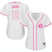Wholesale Cheap Rangers #12 Rougned Odor White/Pink Fashion Women's Stitched MLB Jersey
