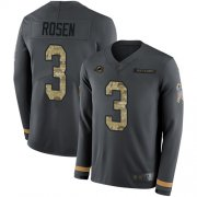 Wholesale Cheap Nike Dolphins #3 Josh Rosen Anthracite Salute to Service Men's Stitched NFL Limited Therma Long Sleeve Jersey