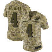Wholesale Cheap Nike Eagles #4 Jake Elliott Camo Women's Stitched NFL Limited 2018 Salute to Service Jersey