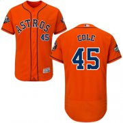 Wholesale Cheap Astros #45 Gerrit Cole Orange Flexbase Authentic Collection 2019 World Series Bound Stitched MLB Jersey