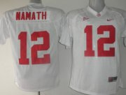 Wholesale Cheap Alabama Crimson Tide #12 Namath White Jersey