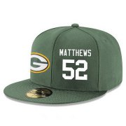Wholesale Cheap Green Bay Packers #52 Clay Matthews Snapback Cap NFL Player Green with White Number Stitched Hat