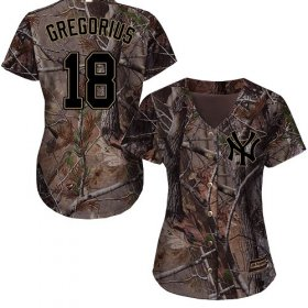 Wholesale Cheap Yankees #18 Didi Gregorius Camo Realtree Collection Cool Base Women\'s Stitched MLB Jersey