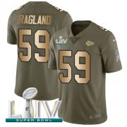 Wholesale Cheap Nike Chiefs #59 Reggie Ragland Olive/Gold Super Bowl LIV 2020 Youth Stitched NFL Limited 2017 Salute To Service Jersey