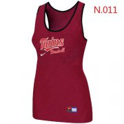 Wholesale Cheap Women's Nike Minnesota Twins Tri-Blend Racerback Stretch Tank Top Red
