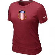 Wholesale Cheap Women's Nike Team USA Hockey Winter Olympics KO Collection Locker Room T-Shirt Red