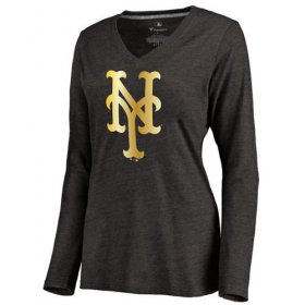 Wholesale Cheap Women\'s New York Mets Gold Collection Long Sleeve V-Neck Tri-Blend T-Shirt Black