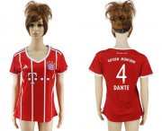 Wholesale Cheap Women's Bayern Munchen #4 Dante Home Soccer Club Jersey