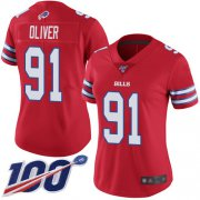 Wholesale Cheap Nike Bills #91 Ed Oliver Red Women's Stitched NFL Limited Rush 100th Season Jersey