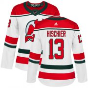 Wholesale Cheap Adidas Devils #13 Nico Hischier White Alternate Authentic Women's Stitched NHL Jersey