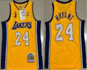 Wholesale Cheap Men's Los Angeles Lakers #24 Kobe Bryant Yellow Champion Patch 2008-09 Hardwood Classics Soul AU Throwback Jersey