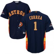 Wholesale Cheap Astros #1 Carlos Correa Navy Blue 2018 Gold Program Cool Base Stitched Youth MLB Jersey