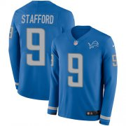 Wholesale Cheap Nike Lions #9 Matthew Stafford Light Blue Team Color Youth Stitched NFL Limited Therma Long Sleeve Jersey
