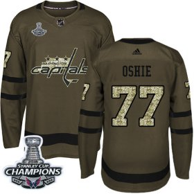 Wholesale Cheap Adidas Capitals #77 T. J. Oshie Green Salute to Service Stanley Cup Final Champions Stitched Youth NHL Jersey