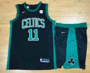 Wholesale Cheap Men's Boston Celtics #11 Kyrie Irving Black 2017-2018 Nike Swingman General Electric Stitched NBA Jersey With Shorts
