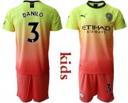 Wholesale Cheap Manchester City #3 Danilo Away Kid Soccer Club Jersey