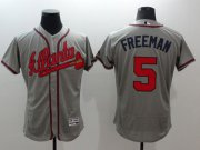 Wholesale Cheap Braves #5 Freddie Freeman Grey Flexbase Authentic Collection Stitched MLB Jersey