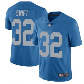 Wholesale Cheap Nike Lions #32 D\'Andre Swift Blue Throwback Youth Stitched NFL Vapor Untouchable Limited Jersey