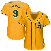 Wholesale Cheap Athletics #9 Reggie Jackson Gold Alternate Women's Stitched MLB Jersey