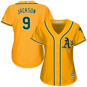 Wholesale Cheap Athletics #9 Reggie Jackson Gold Alternate Women\'s Stitched MLB Jersey