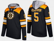Wholesale Cheap Bruins #5 Dit Clapper Black Name And Number Hoodie