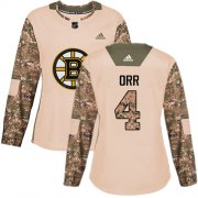 Wholesale Cheap Adidas Bruins #4 Bobby Orr Camo Authentic 2017 Veterans Day Women's Stitched NHL Jersey