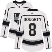 Wholesale Cheap Adidas Kings #8 Drew Doughty White Road Authentic Women's Stitched NHL Jersey