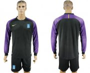 Wholesale Cheap Greece Blank Black Goalkeeper Long Sleeves Soccer Country Jersey