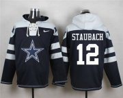Wholesale Cheap Nike Cowboys #12 Roger Staubach Navy Blue Player Pullover NFL Hoodie