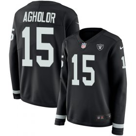 Wholesale Cheap Nike Raiders #15 Nelson Agholor Black Team Color Women\'s Stitched NFL Limited Therma Long Sleeve Jersey